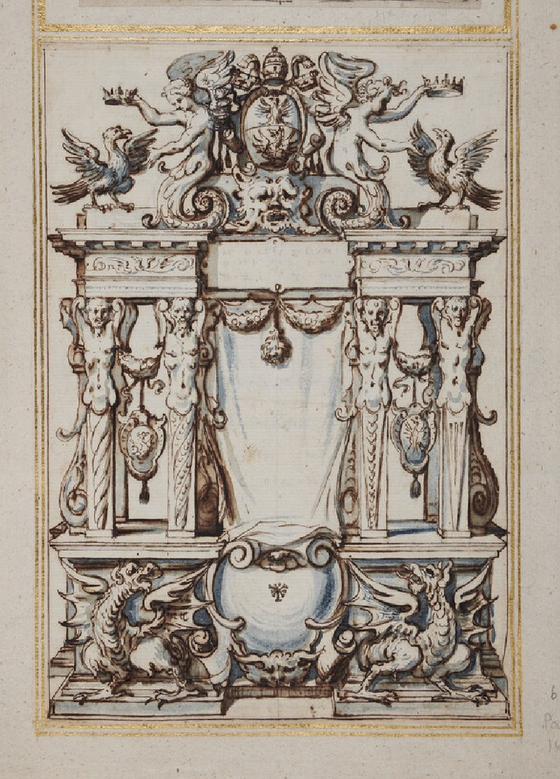 Design for a printed title-page with a pediment supported by caryatids and surmounted by the coat of arms of Pope Paul V (Camillo Borghese), showing a crowned eagle with dragons (recto)