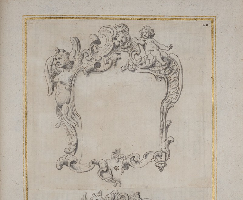 Design for a cartouche with alternative solutions, including a putto and a winged female figure