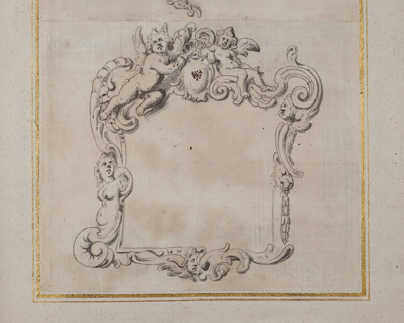Design for a cartouche with alternative treatments including putti, a lion's head, and a female figure