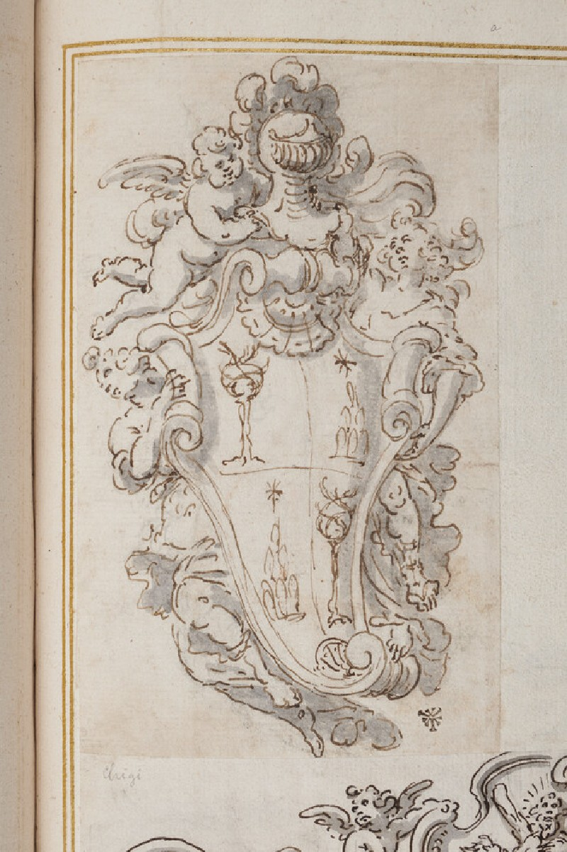 Coat of arms of the Chigi-Della Rovere family surmounted by an armour
