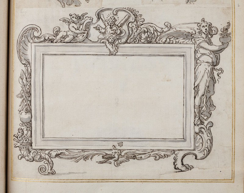 Design for an oblong rectangular tablet showing alternative treatments and surmounted by a figure of Saint Andrew