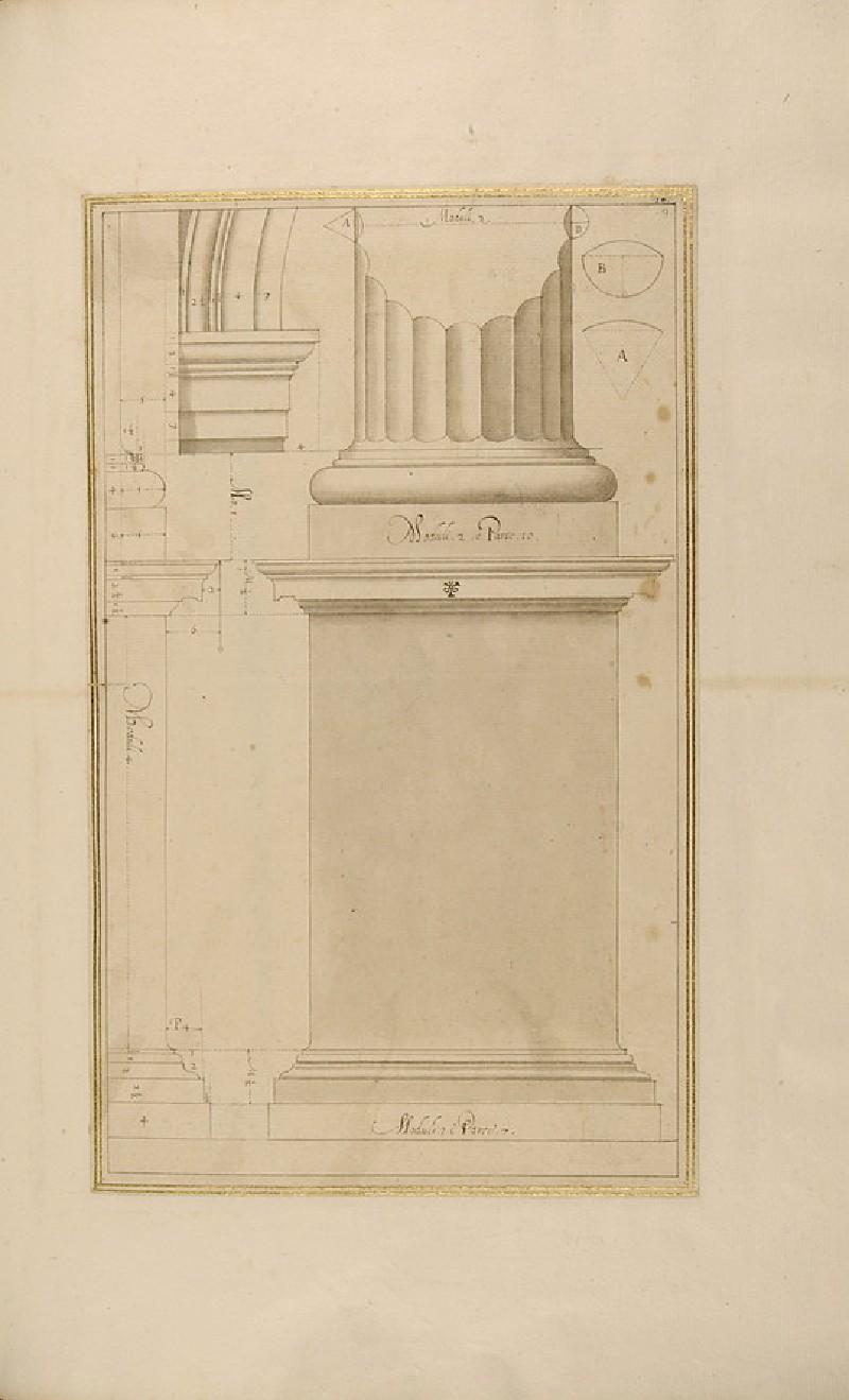 A Doric pedestal, base, column, capital, and arch