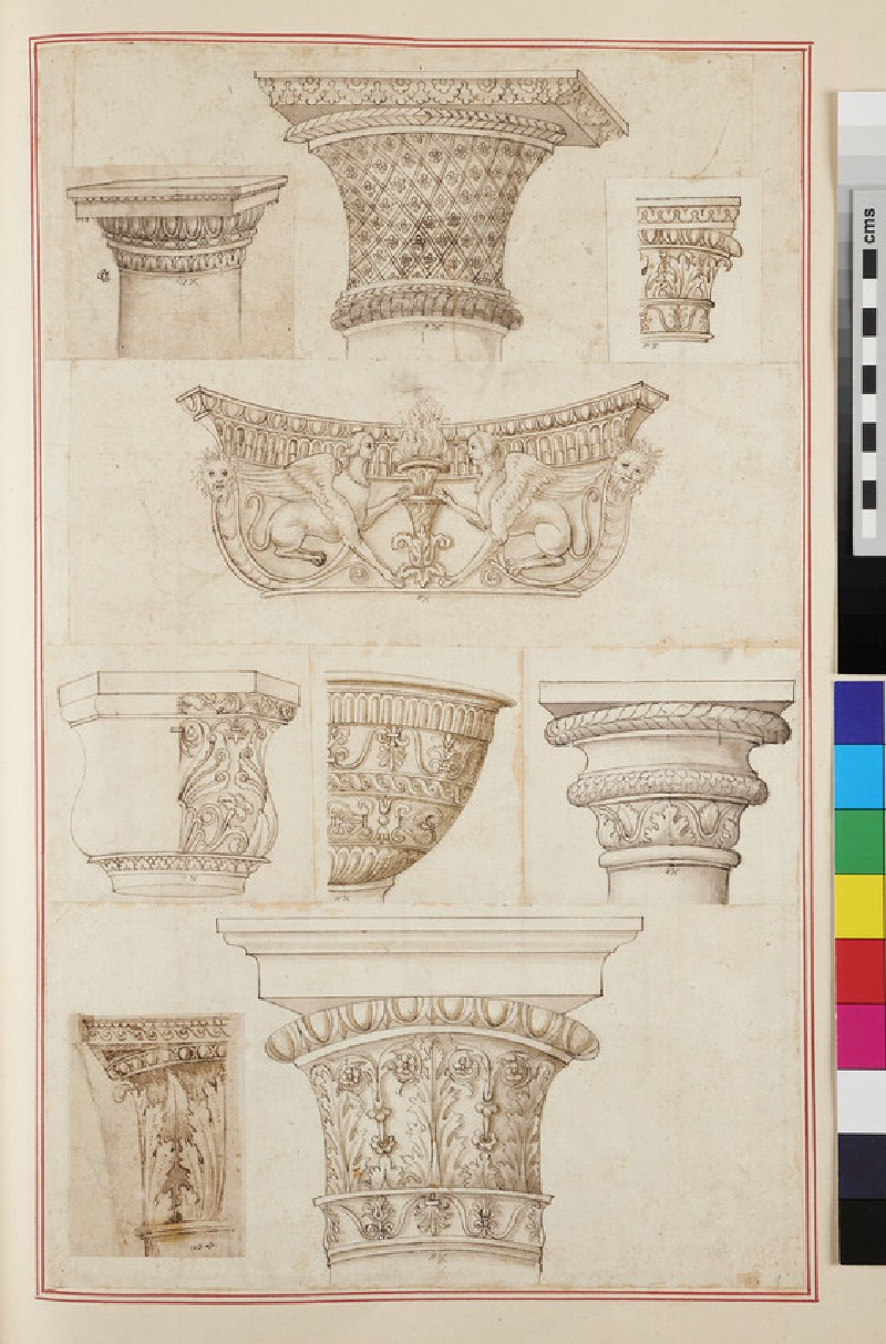 Eight capitals of various orders and a basin (recto)