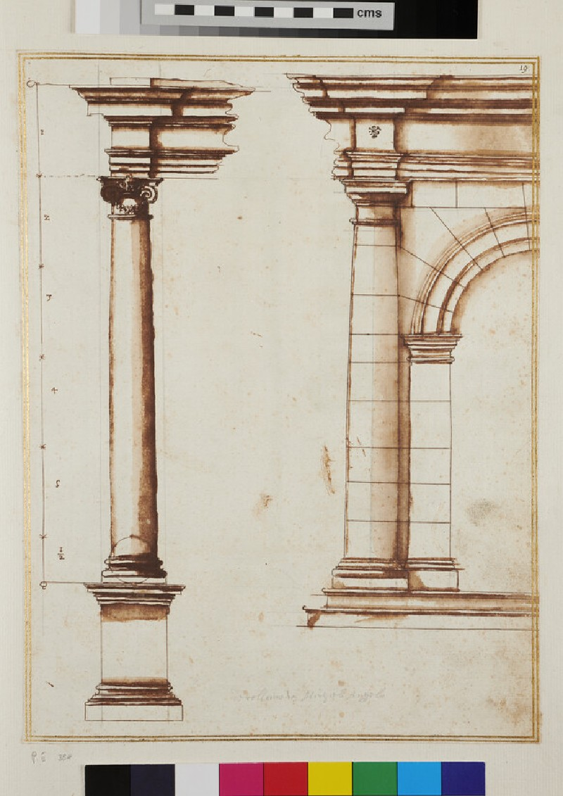 An Ionic column with entablature and half design of a rustic arched Doric structure