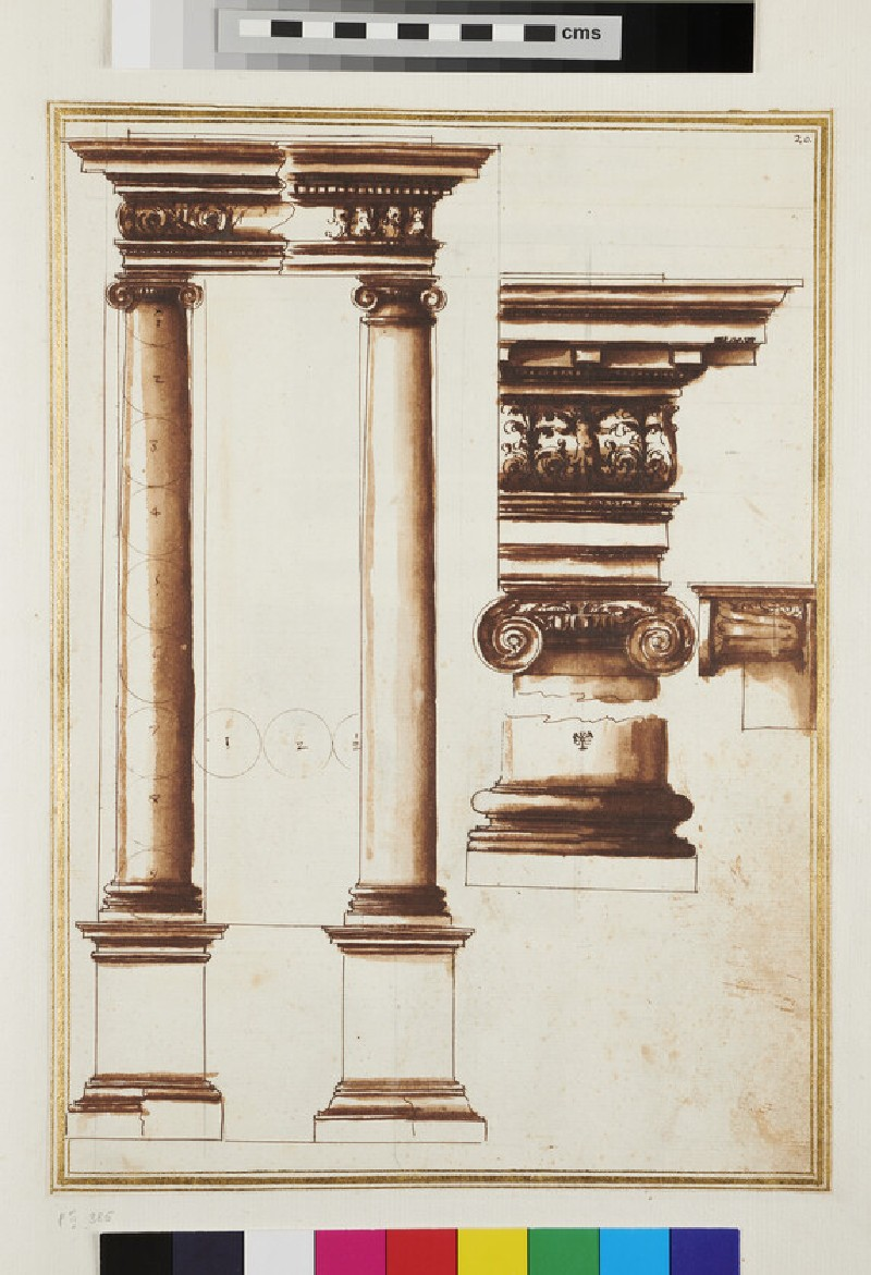 Two Ionic columns with details of the entablature, capital, and base