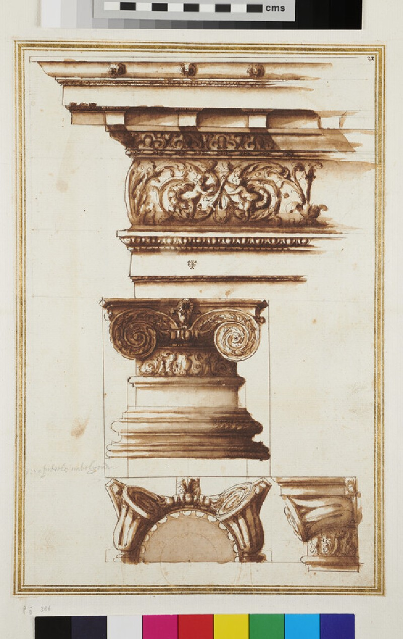 Three views of an Ionic capital and its entablature (recto)