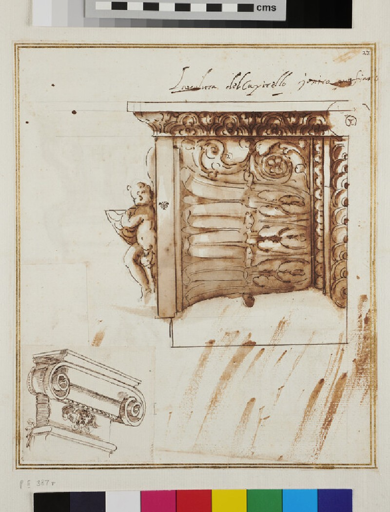 Recto: Half a volute of an Ionic capital and an Ionic capital of a pilaster Verso: Two designs for kneeling prayer desks or altars, an altar and a standing angel (verso)