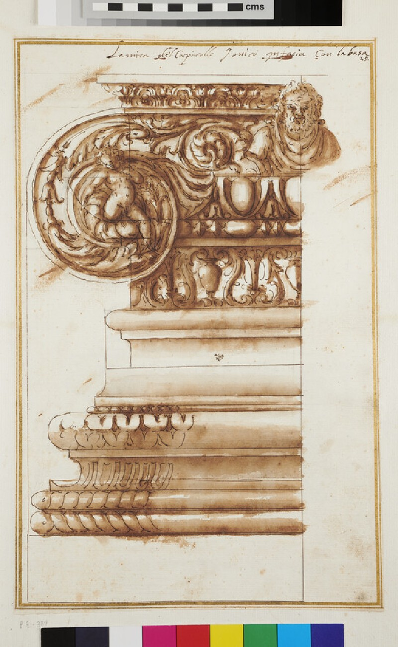 Front view of a half Ionic capital and its base (WA1942.55.118, recto)