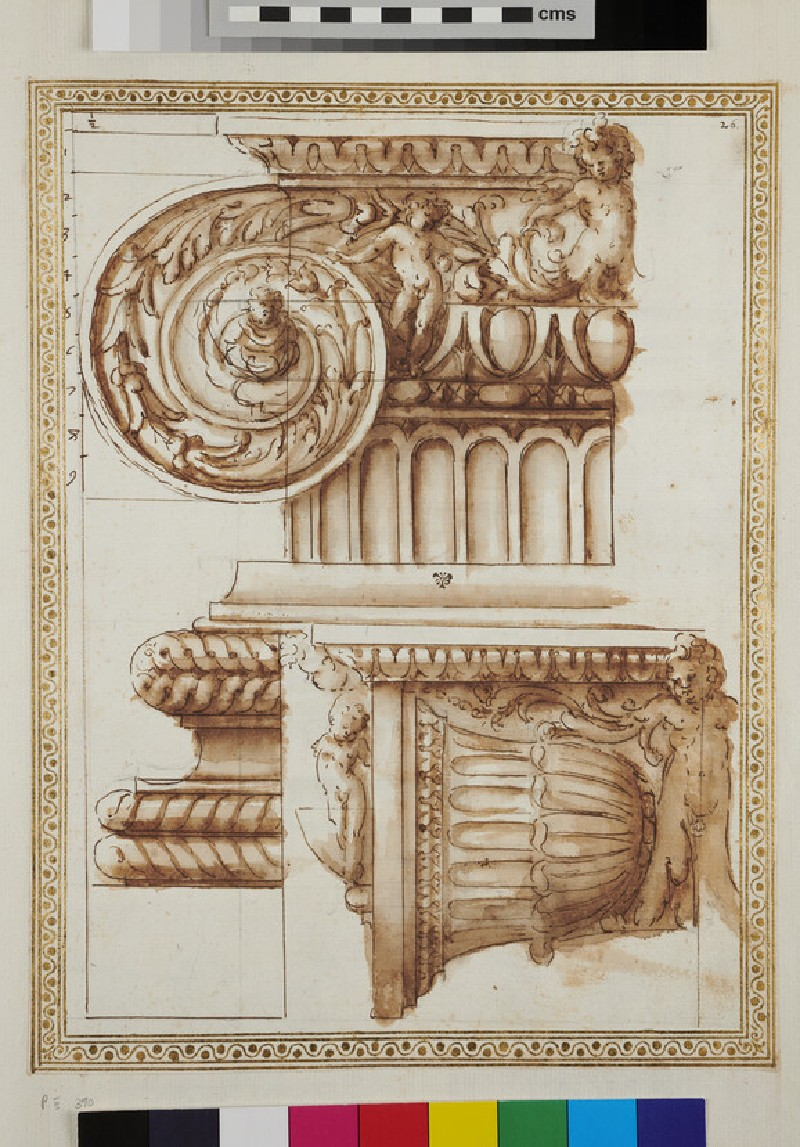 Front and side view of an Ionic capital and its base