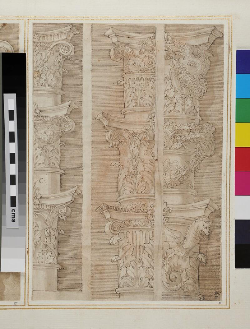 Recto: Nine Composite capitals  Verso: Detail of the facade of Raphael's Palazzo Branconio dell'Aquila