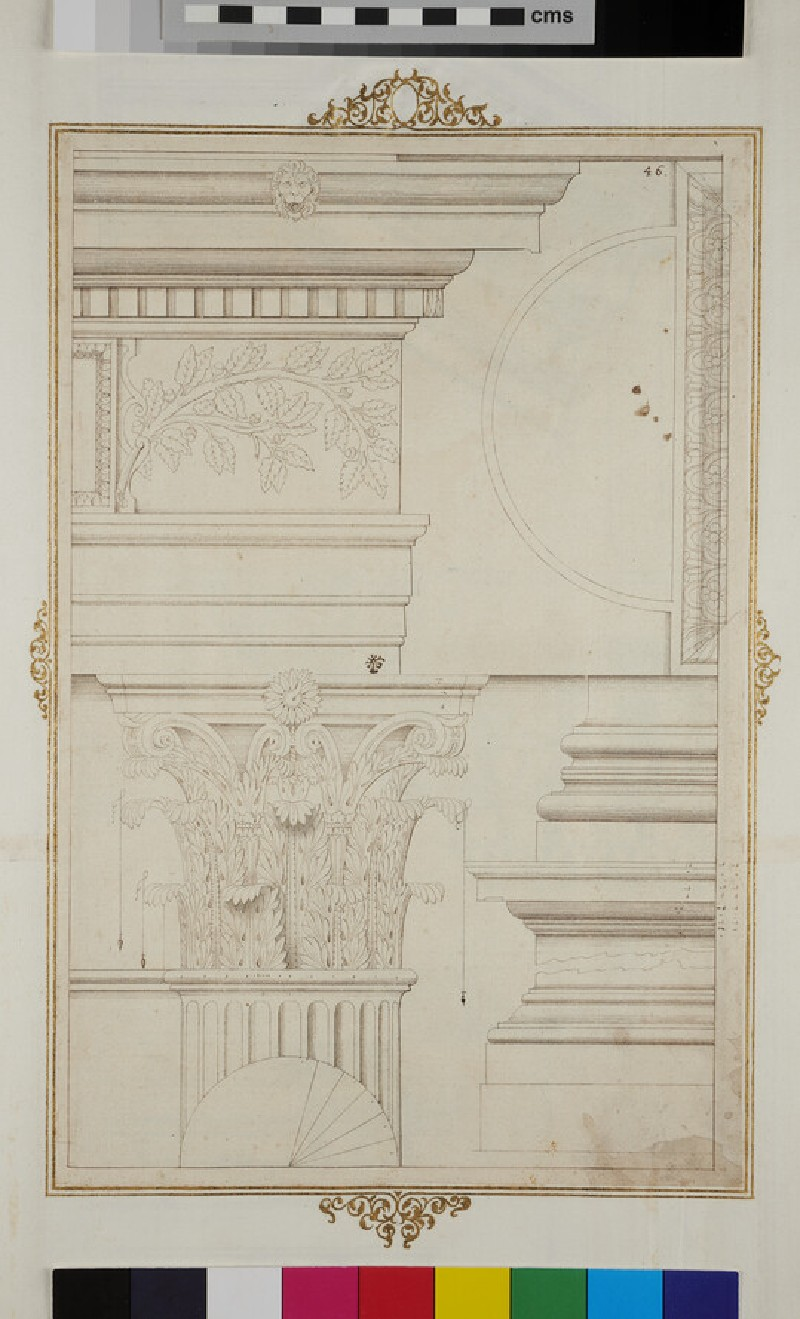 Corinthian entablature, capital and base (verso)