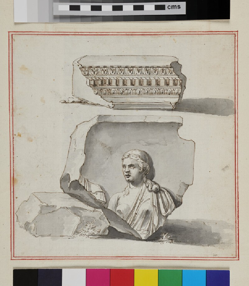 Two architectural fragments, on a piece of paper pasted on the verso of 49b verso (recto)