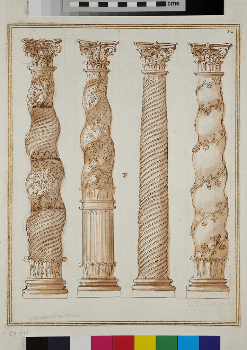 Three twisted columns and one with spiral fluting