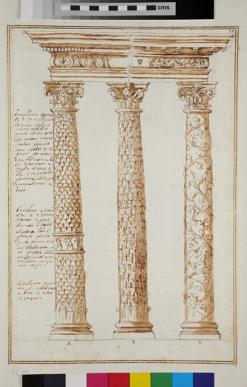 Three ornamental columns supporting an entablature, their shafts decorated respectively with ivy, oak and vine leaves (recto)