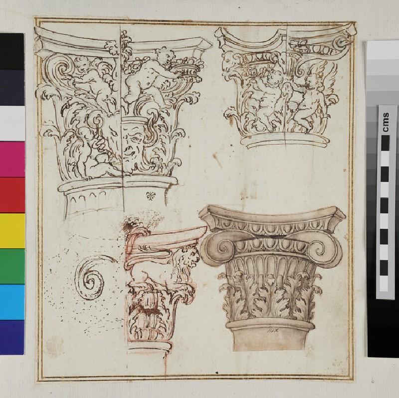 Recto: Four studies of capitals of the Composite order <br />Verso: A pavillon set against a landscape