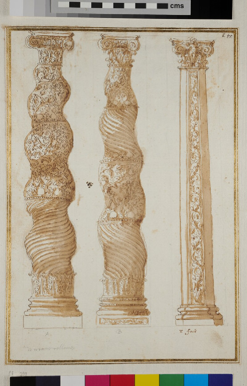Two twisted columns and one polygonal column (verso)