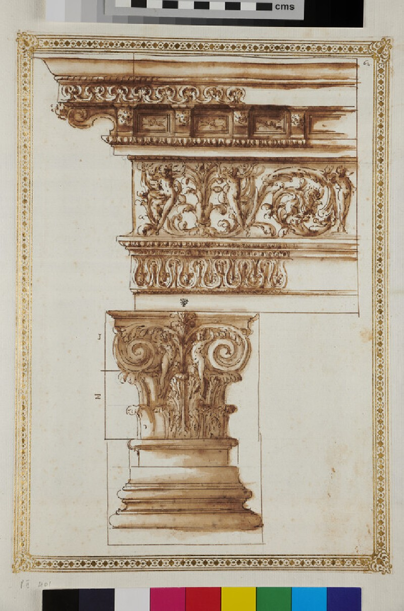 A composite capital with an entablature (recto)
