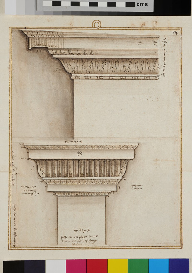 An entablature and a lesene, two sheets joined together (recto)