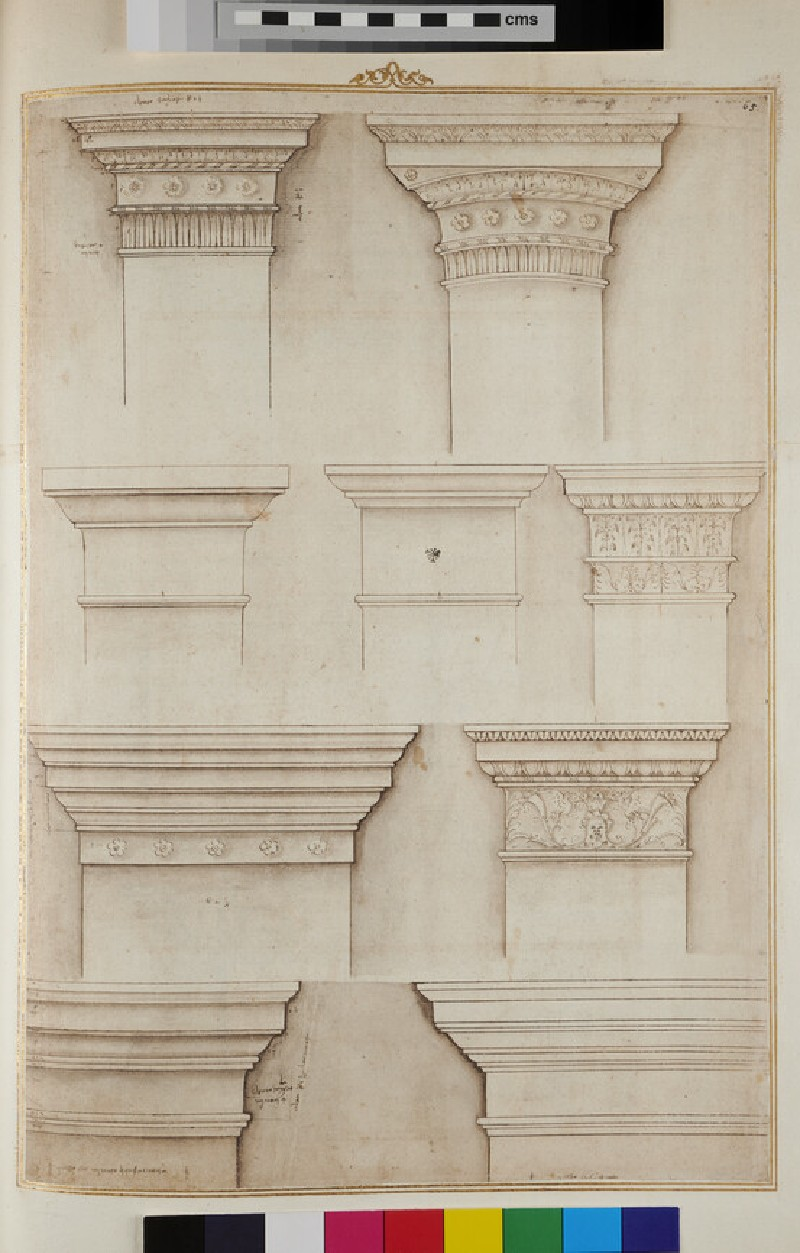 Pilasters and columns of various orders, two sheets joined together