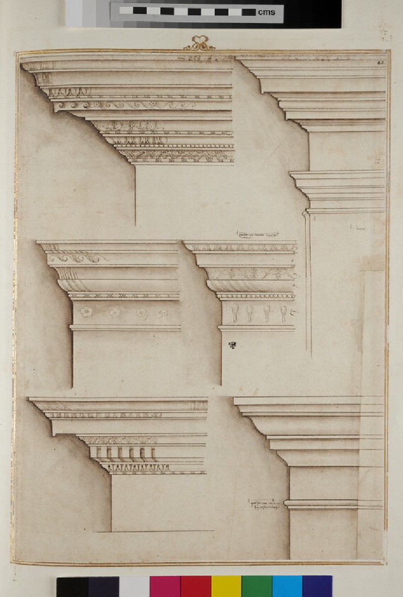 Seven entablatures of the Ionic, Tuscan and Corinthian orders (recto)