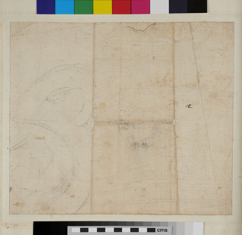 Recto: A perspectival view of a Composite entablature <br />Verso: A volute (WA1942.55.177, recto)