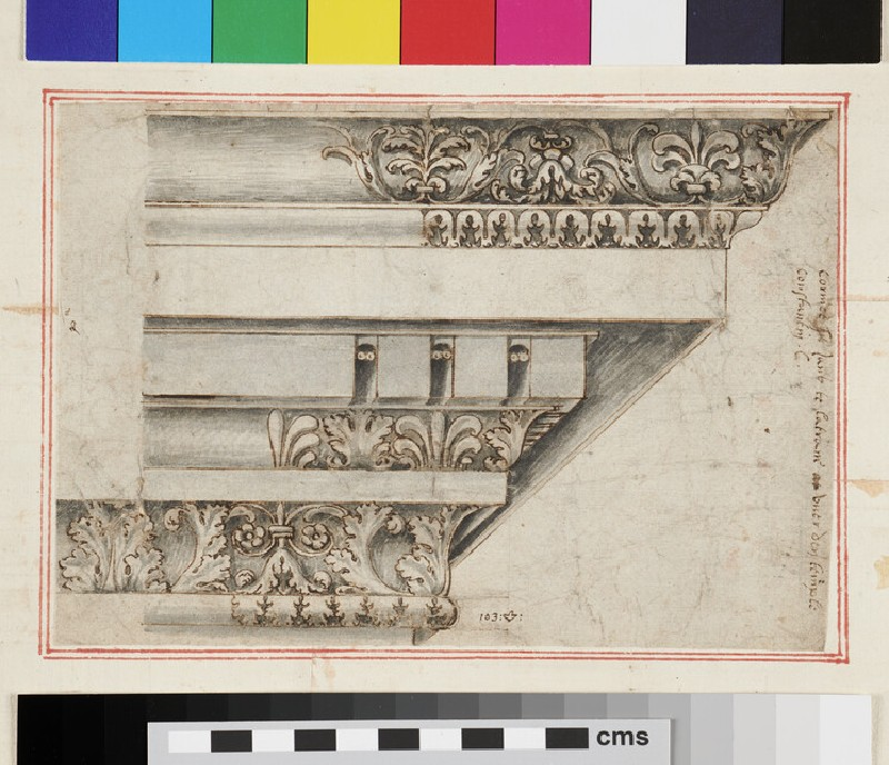 Corinthian Entablature, on a separate sheet pasted on the recto (WA1942.55.182.2, verso)