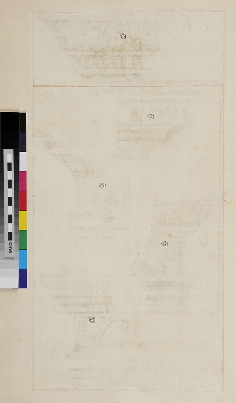 Five Composite entablatures (WA1942.55.184, recto)
