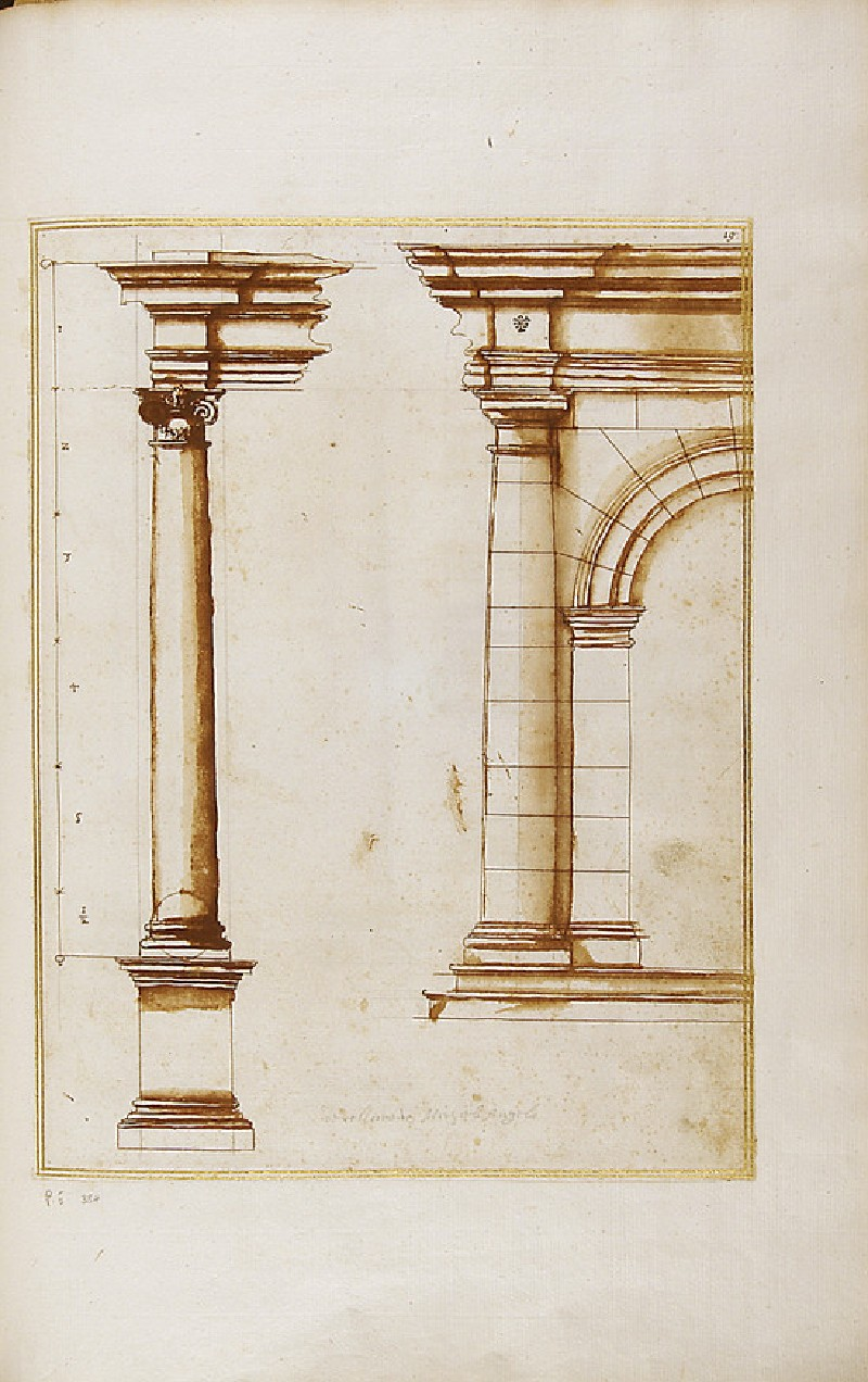An Ionic column with entablature and half design of a Doric arched structure