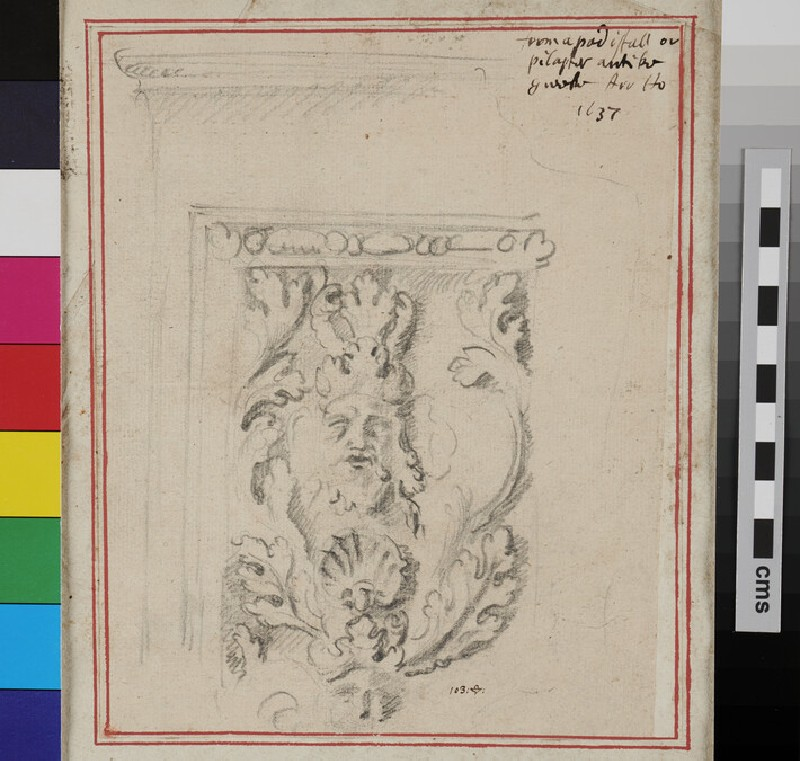 Study of an antique fragment with satyr's mask and seashell