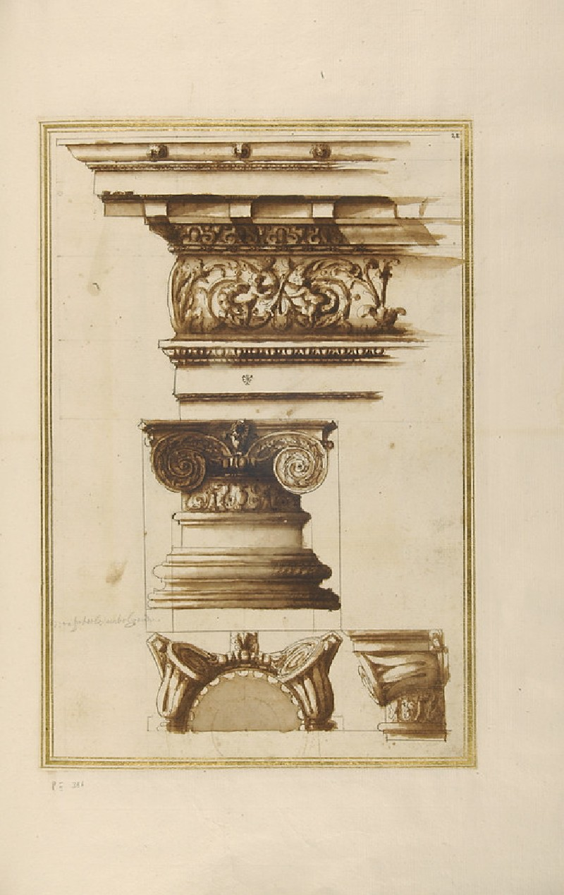 Three views of an Ionic capital and its entablature (WA1942.55.114)