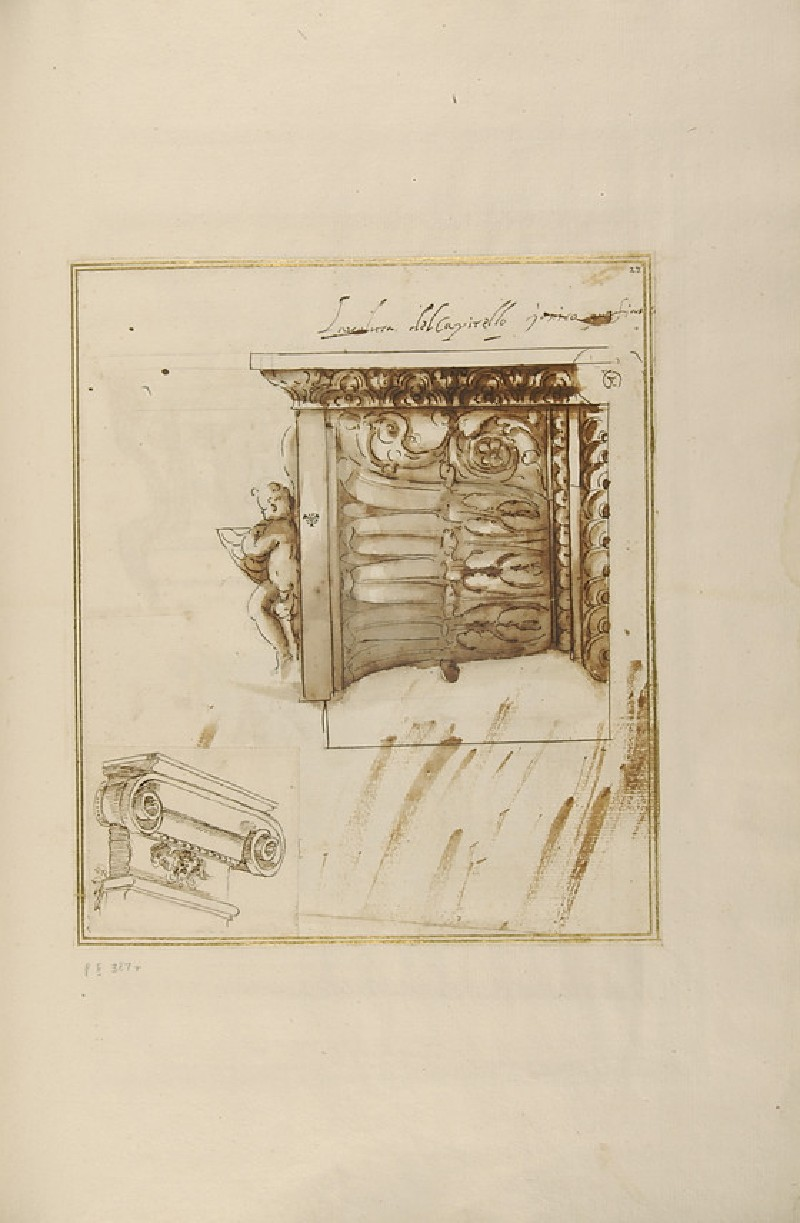 Recto: Half a volute of an Ionic capital and an Ionic capital of a pilaster<br />Verso: Two designs for kneeling prayer desks or altars, an altar and a standing angel (WA1942.55.116)