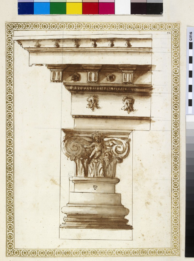 A Corinthian capital, base and entablature (WA1942.55.123)