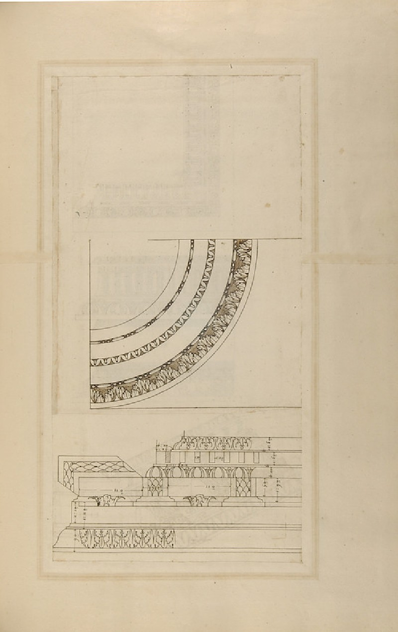 Recto: Three Ionic cornices<br />Verso: A Ionic cornice and decorative details of an arch