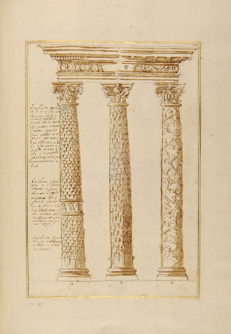 Three ornamental columns supporting an entablature, their shafts decorated respectively with ivy, oak and vine leaves (WA1942.55.152)