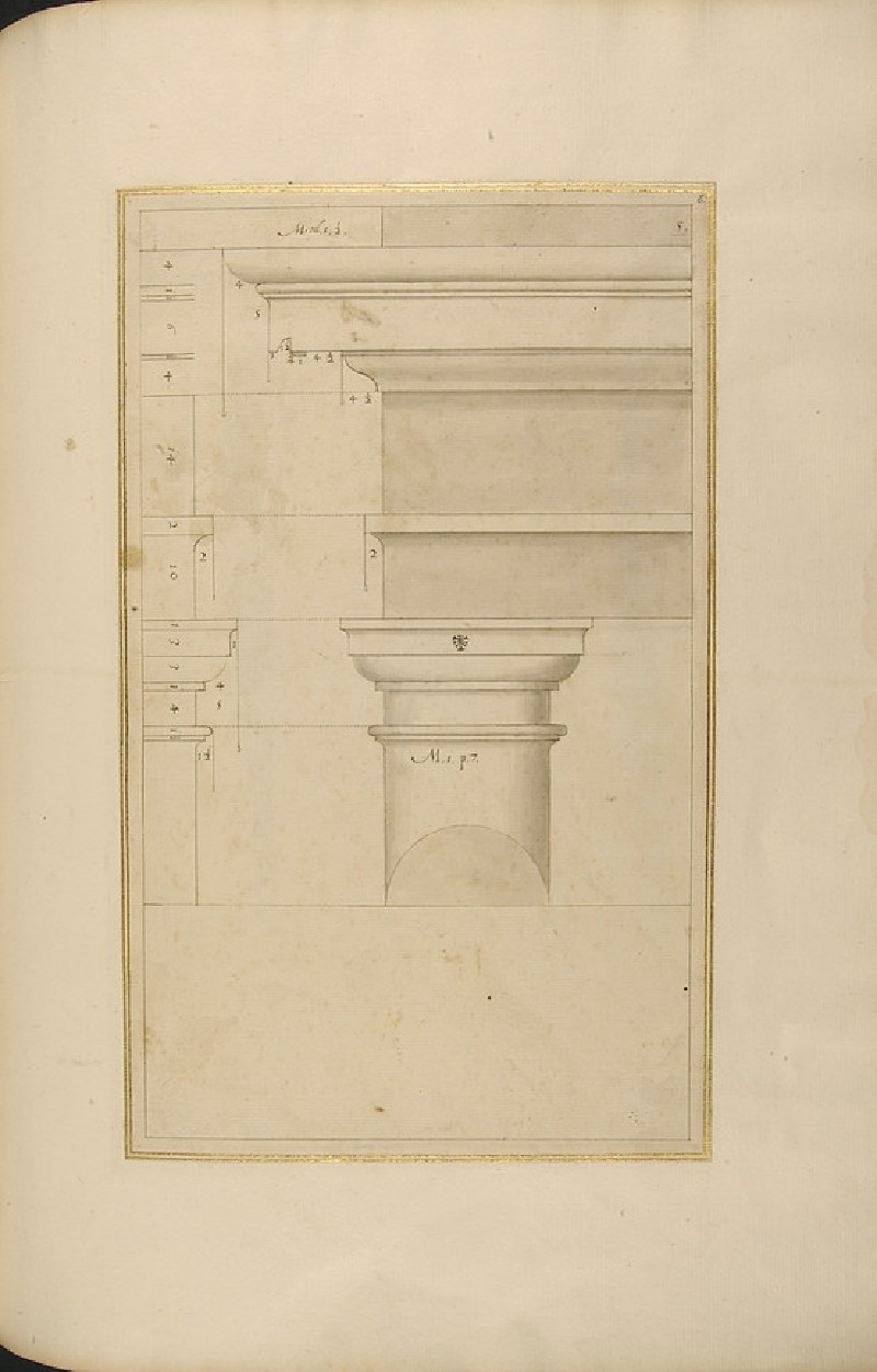 A Tuscan capital and its entablature