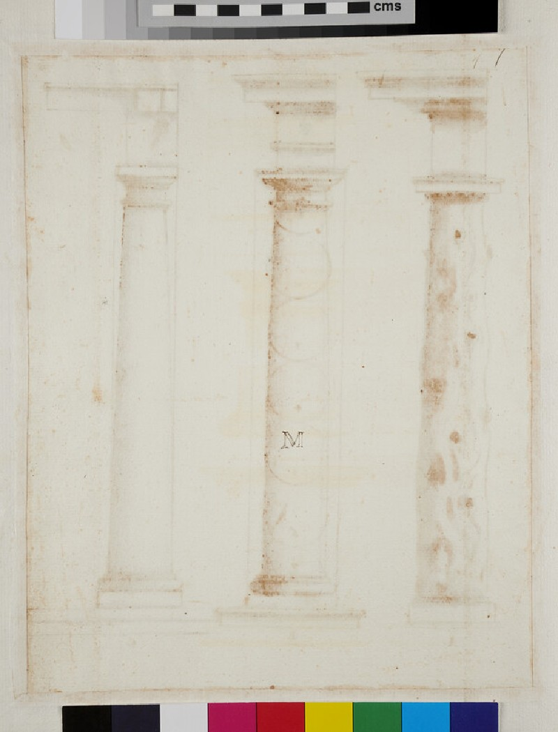 Three columns of the Tuscan order supporting entablatures (WA1942.55.86, recto)