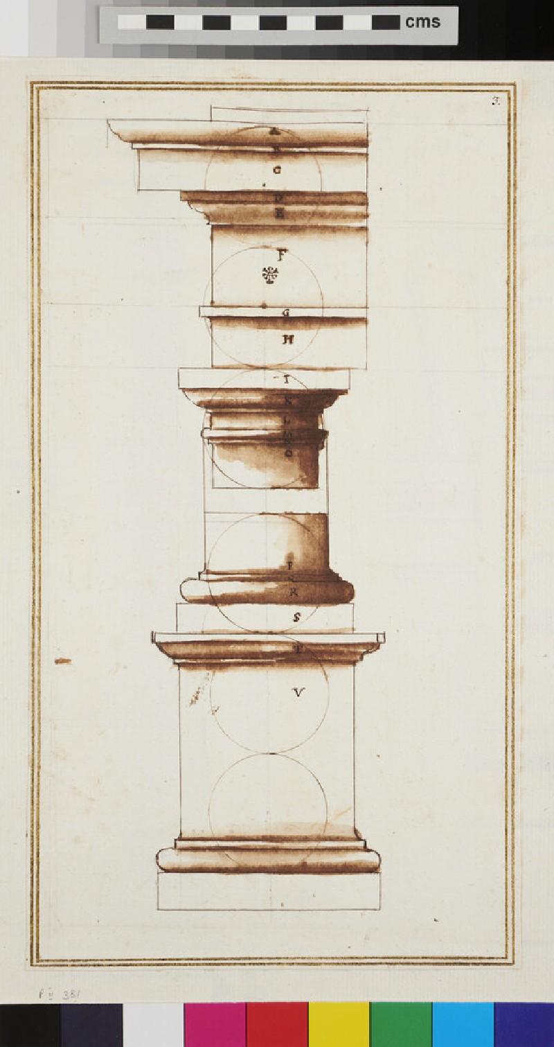A Tuscan entablature, capital, base and pedestal (verso)