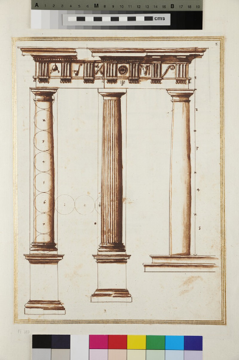 Three Columns of the Doric order supporting an entablature (WA1942.55.96, verso)