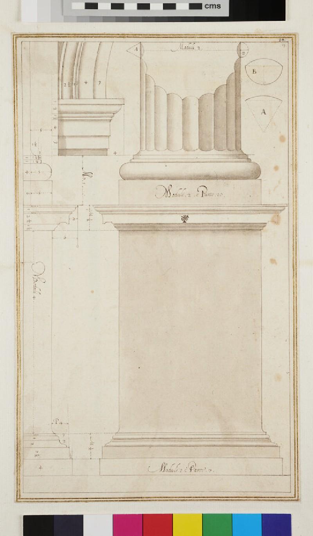 A Doric pedestal, base, column, capital, and arch (WA1942.55.98, verso)