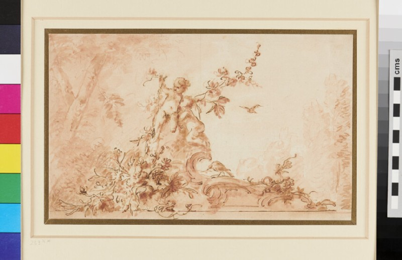 Two nude Cupids on a Scroll of Rococo Ornament with Birds and Garlands of Flowers (WA1942.70, recto)