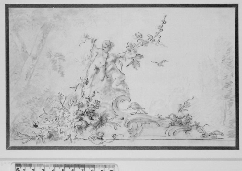 Two nude Cupids on a Scroll of Rococo Ornament with Birds and Garlands of Flowers (WA1942.70)