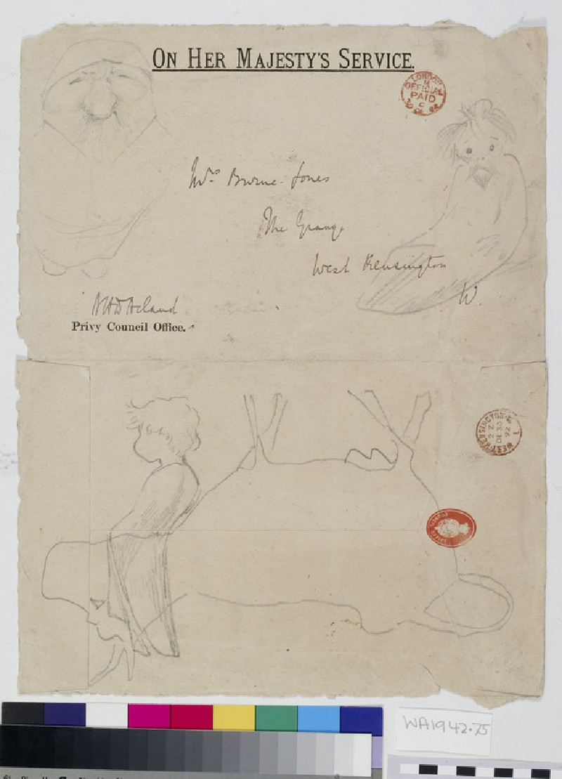 Recto: Caricatures on a Envelope<br />Verso: Elephant (WA1942.75)