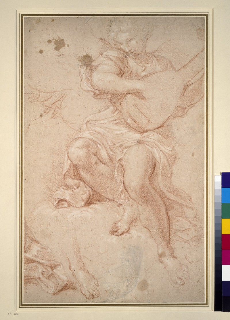 Angel seated on a cloud playing a lute, with separate studies of drapery, a hand, and a left foot (WA1942.87)