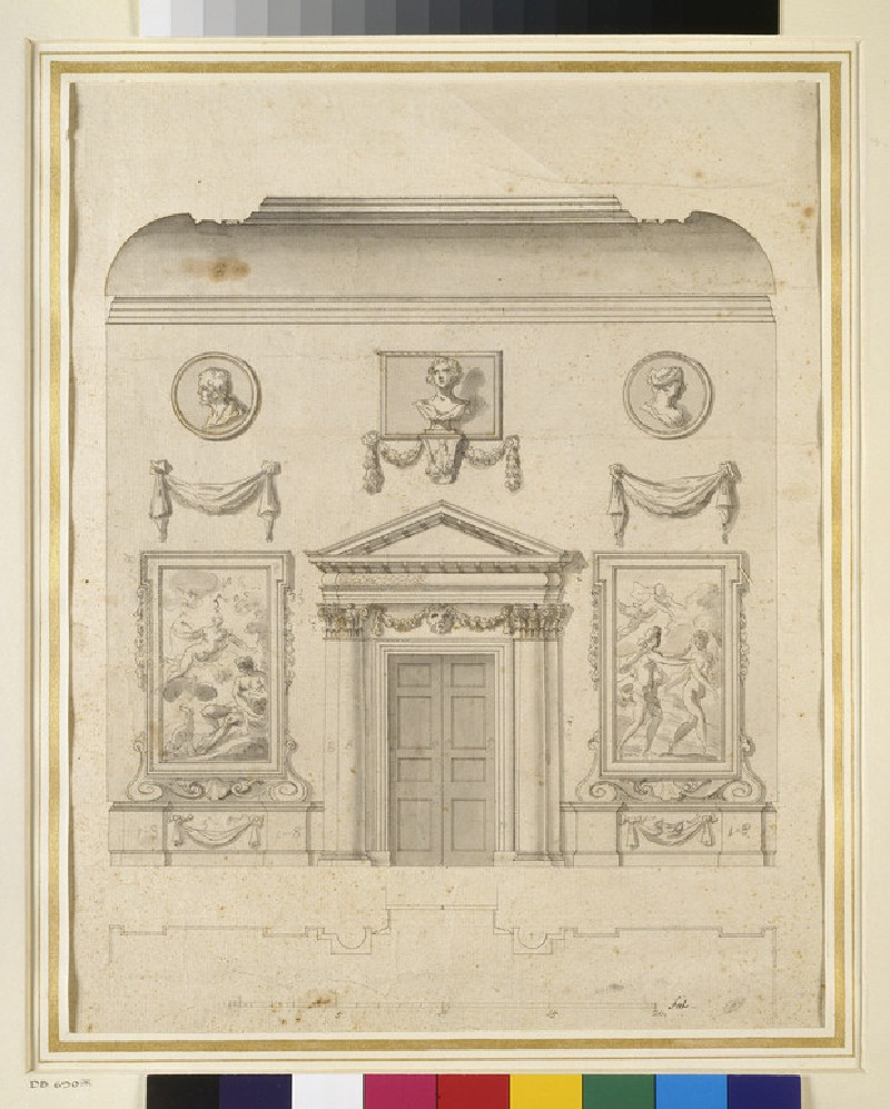 Drawing for the north wall of the hall of Ditchley House (WA1943.113)
