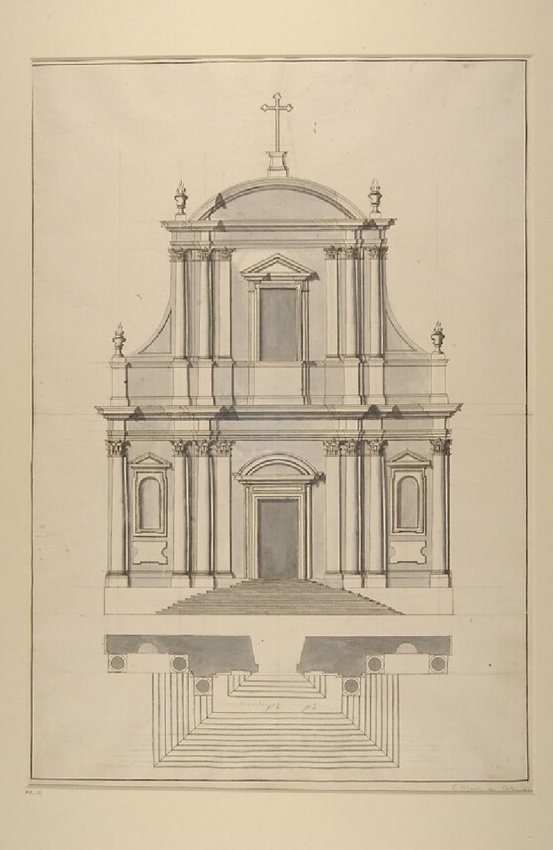 Plan and elevation of the facade of the church of Saint Nicola da Tolentino agli Orti Sallustiani, Rome