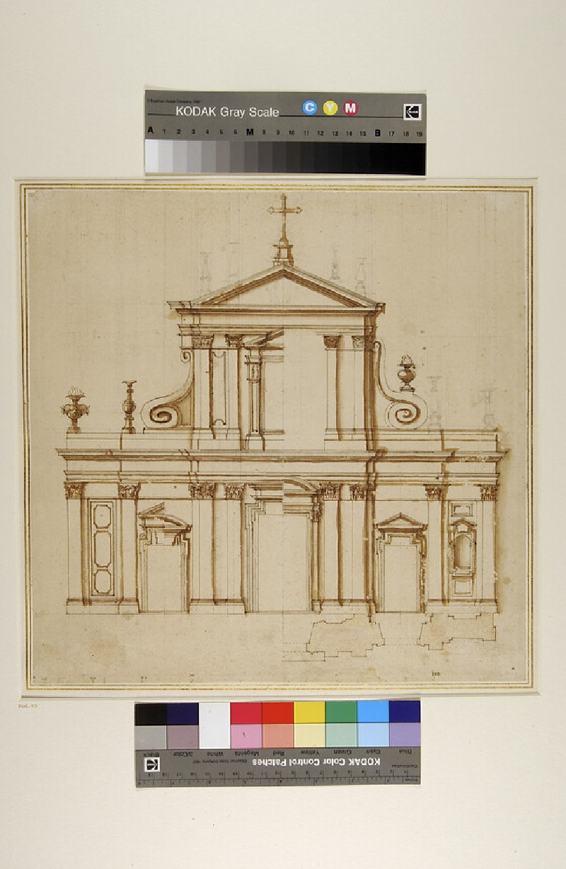 Prospect and plan of a facade of a church