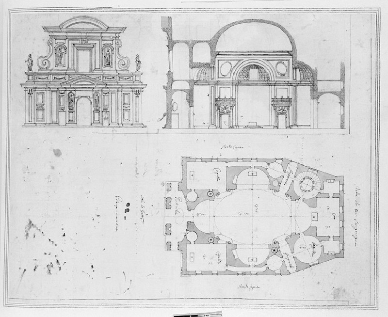Prospect, section and plan for the reconstruction of Saint Agnese, Piazza Navona, Rome