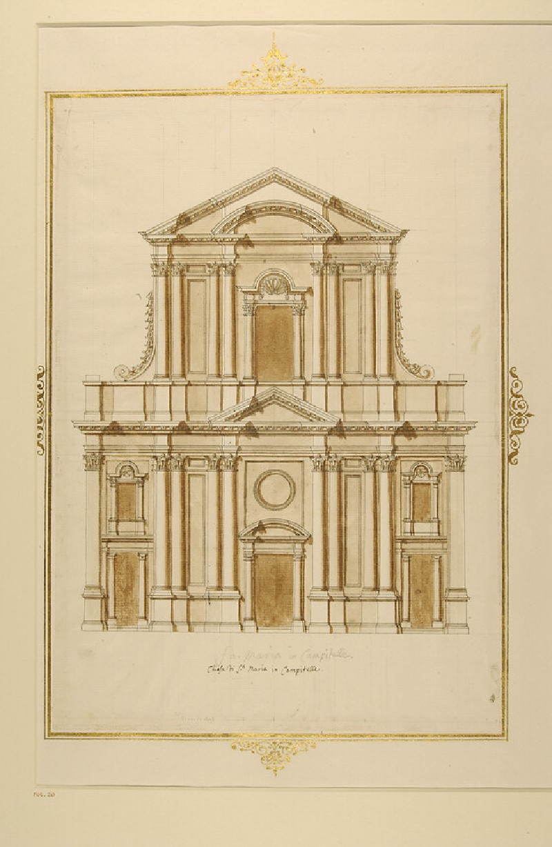 Elevation of the facade of St Maria in Campitelli, Rome