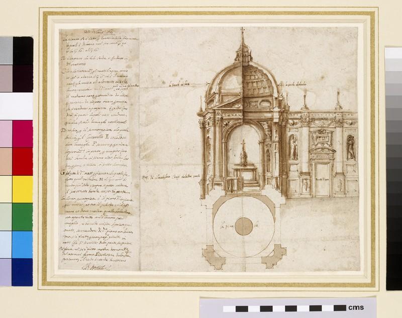 Project for the ciborium of the Basilica of Sts Bonifacio e Alessio, Rome, and an unrelated inscription