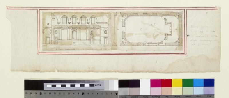 Longitudinal section and plan for the Oratorio dei Filippini (Oratory of Saint Philip Neri) in Santa Maria in Vallicella, also called Chiesa Nuova, Rome (WA1944.102.41)
